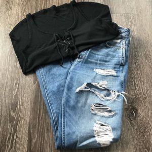 A&F High Rise Distressed Boyfriend Jeans
